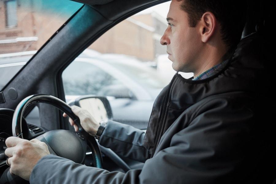Fleet driver in van for fleet driver training